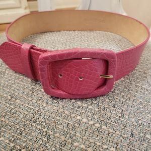ST JOHN Pink Embossed Leather Belt. S.